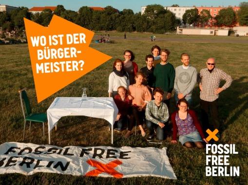 Seit Februar entzieht sich Bürgermeister Michael Müller einem Gespräch zu Berlins schmutzigen Investitionen - wie lange noch? / Foto: Fossil Free Berlin