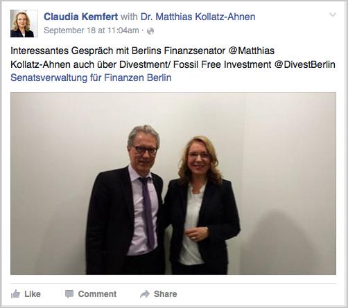 Auf Facebook verkündet Claudia Kemfert das produktive Treffen mit dem Finanzsenator